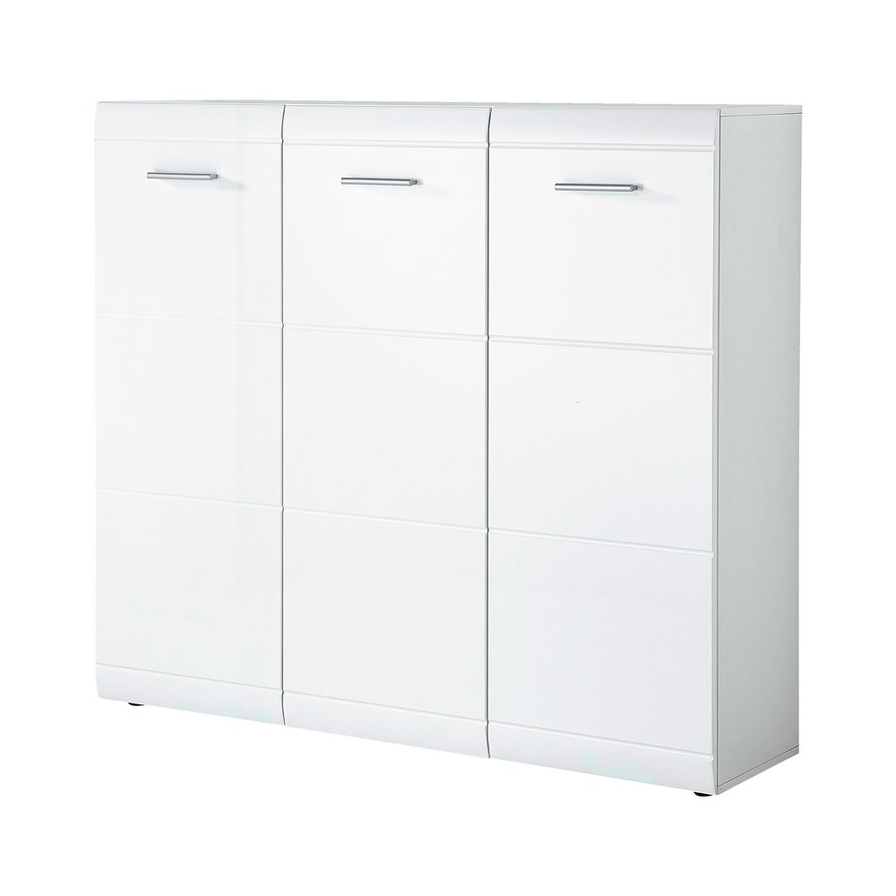 meuble a chaussures 3 portes 134x36x120 cm blanc brillant aaron