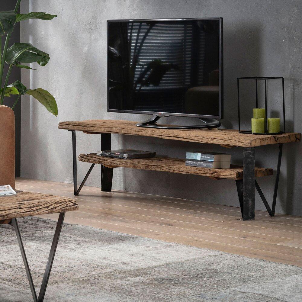 meuble tv 2 etageres 160x40x45 cm en bois recycle et metal