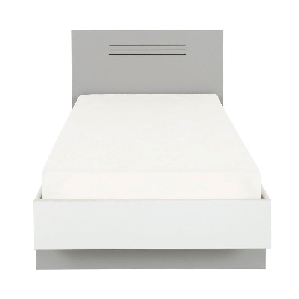 lit 90x190 cm gris et blanc hampton