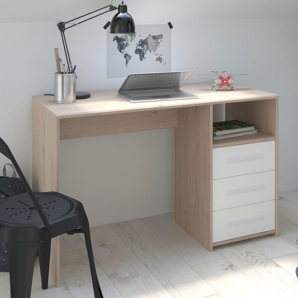 bureau 3 tiroirs 120 cm blanc et chene discree