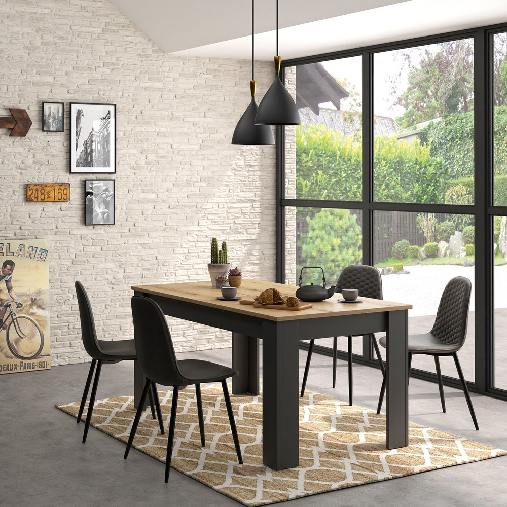 table rectangulaire avec allonge 160 200x90x77 cm decor chene et noir