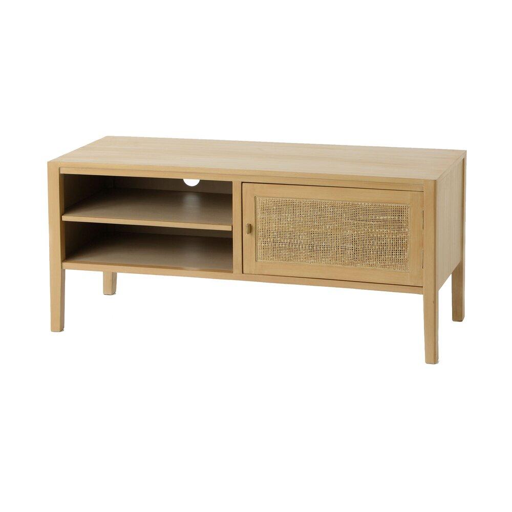 meuble tv 1 porte 110 cm en bois decor chene anila