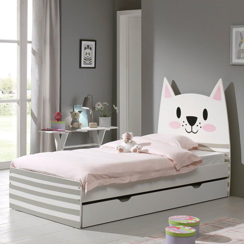 lit enfant 90x200 cm tete de lit chat avec tiroir funbed