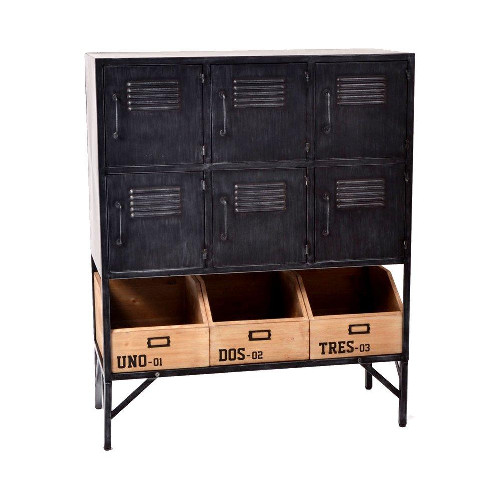 meuble de rangement 6 portes et 3 casiers en bois et metal noir