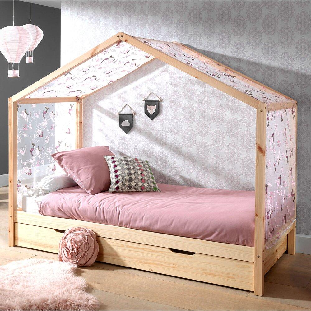 lit cabane 90x200 cm en pin naturel avec tiroir et textile ninou