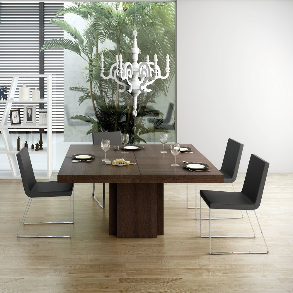 table a manger carree 150 cm decor chene brun dinny