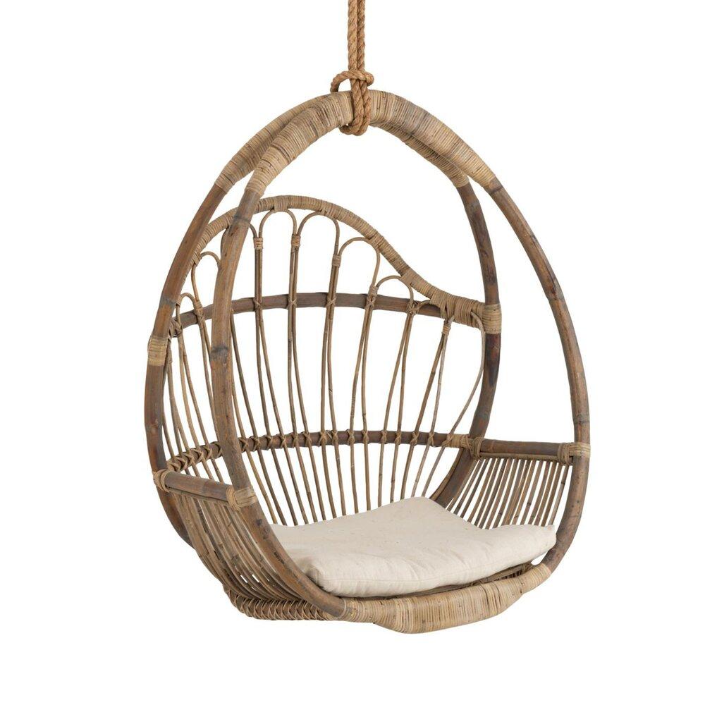 chaise suspendue pour enfant 85x60x109 cm en rotin naturel
