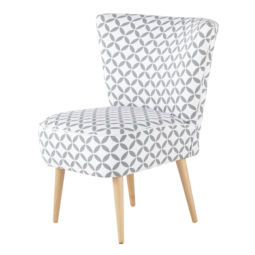 Cotton Patterned Vintage Armchair In Grey And White