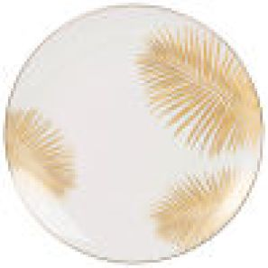Ivory Porcelain Dinner Plate with Palm Tree Print - PALMISTA