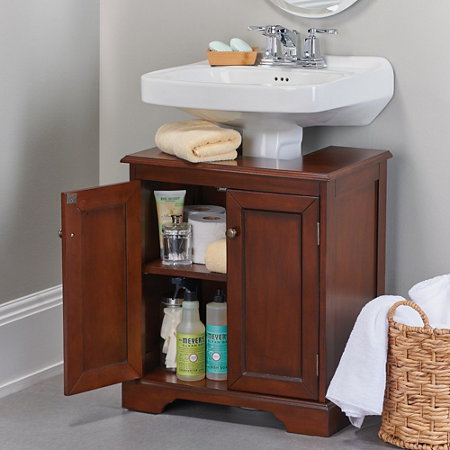 Storage Traditional Pedestal Sink To Add Blue Accent For