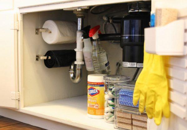 cupboard trash storage sink home