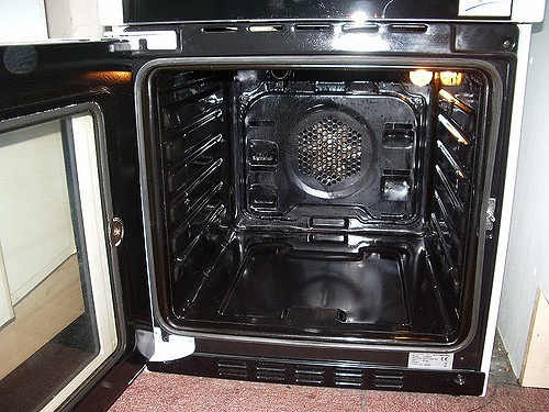 the interior of a deeply cleaned oven