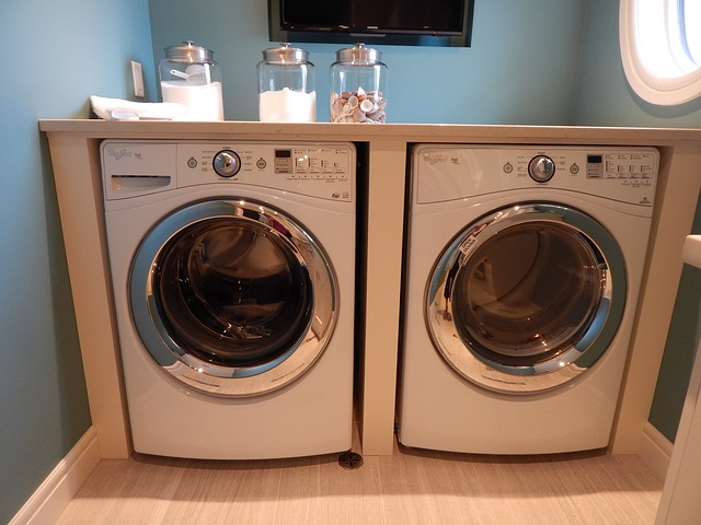 clean white front-loading washing machine and dryer