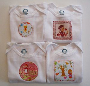 Fabric Patches on Baby Onesies