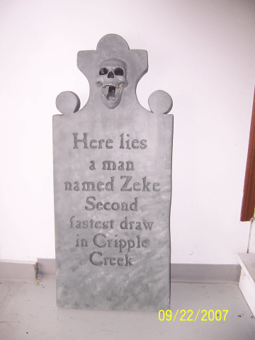 Craft some styrofoam into realistic tombstones for Halloween