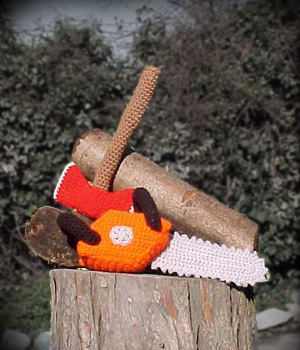 crochet axe and chainsaw