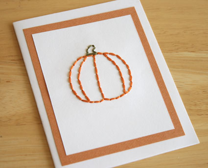 stitched pumpkin card
