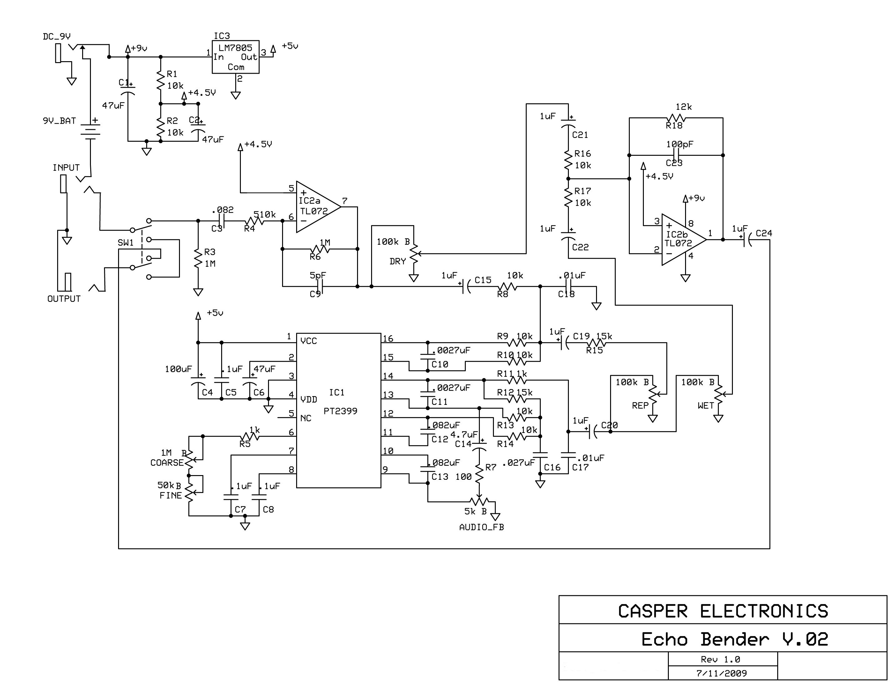 Delay Pedal Schematic Wiring Diagram Online Drawing Rev 4 Build An Experimental Echo Make Guitar