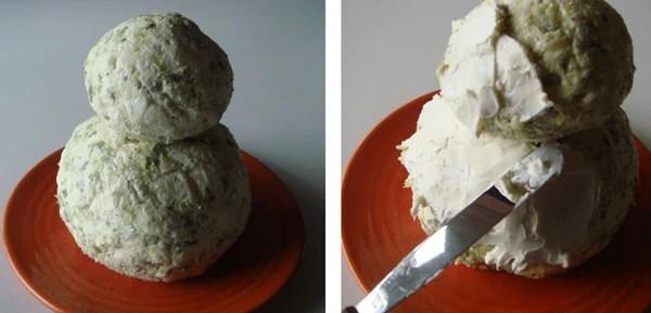 Snowman Cheeseball Step 4