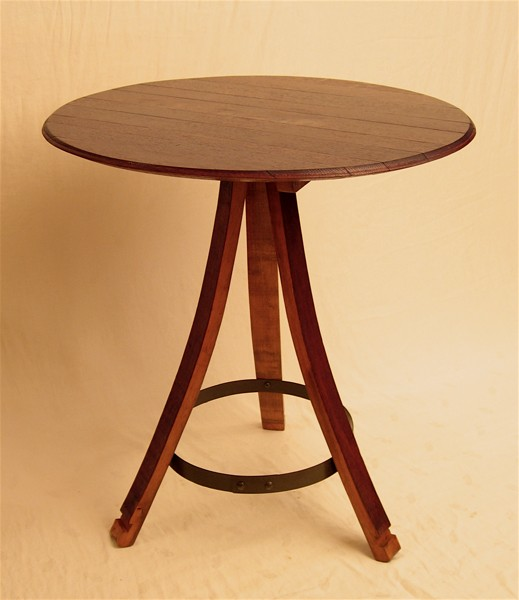 Handmade recycled oak wine barrel furniture make for 1 2 wine barrel table