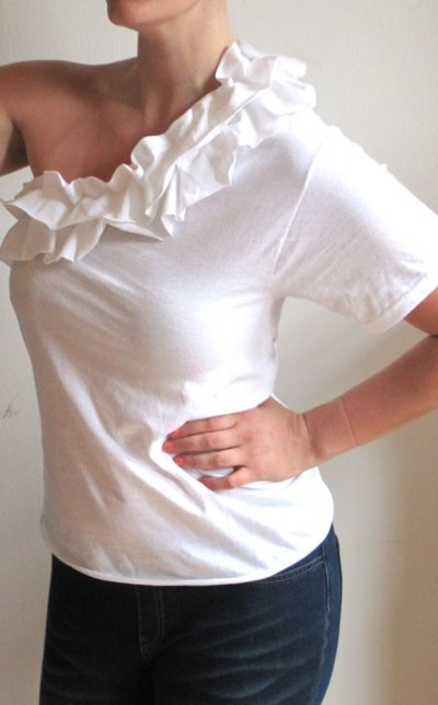 one-shoulder ruffle shirt