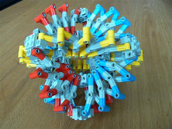 Hoberman sphere in Lego Technic elements by Brickshelf user barman.