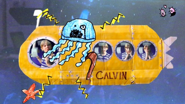 A monocled jellyfish mildly accosts Sylvia and her crew in the SS Calvin, 42,000 leages beneath the sea