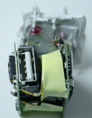 iPhone charger disassembled