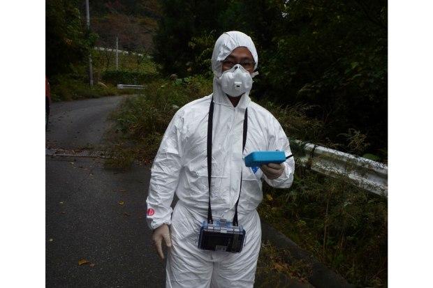Dr. Akira Sugiyama of Keio University, walking into the exclusion zone.
