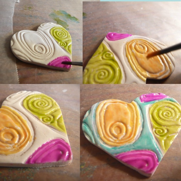 How to use alcohol inks for a glazed look on polymer clay for Clay mural making