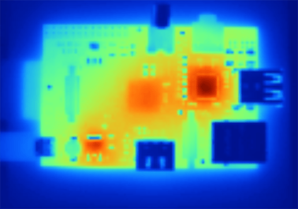 Thermal imagery of operating Raspberry Pi