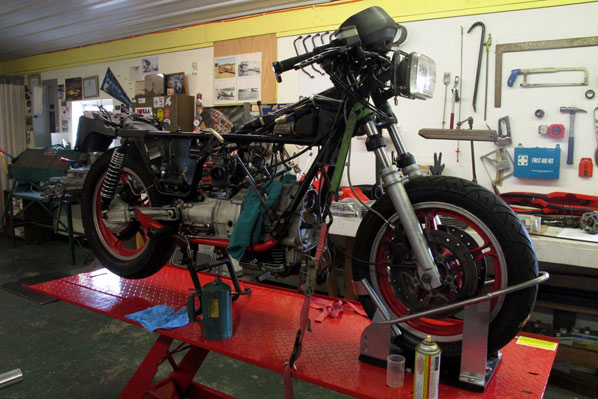 This classic Moto Guzzi is currently being dismantled, cleaned, and restored.