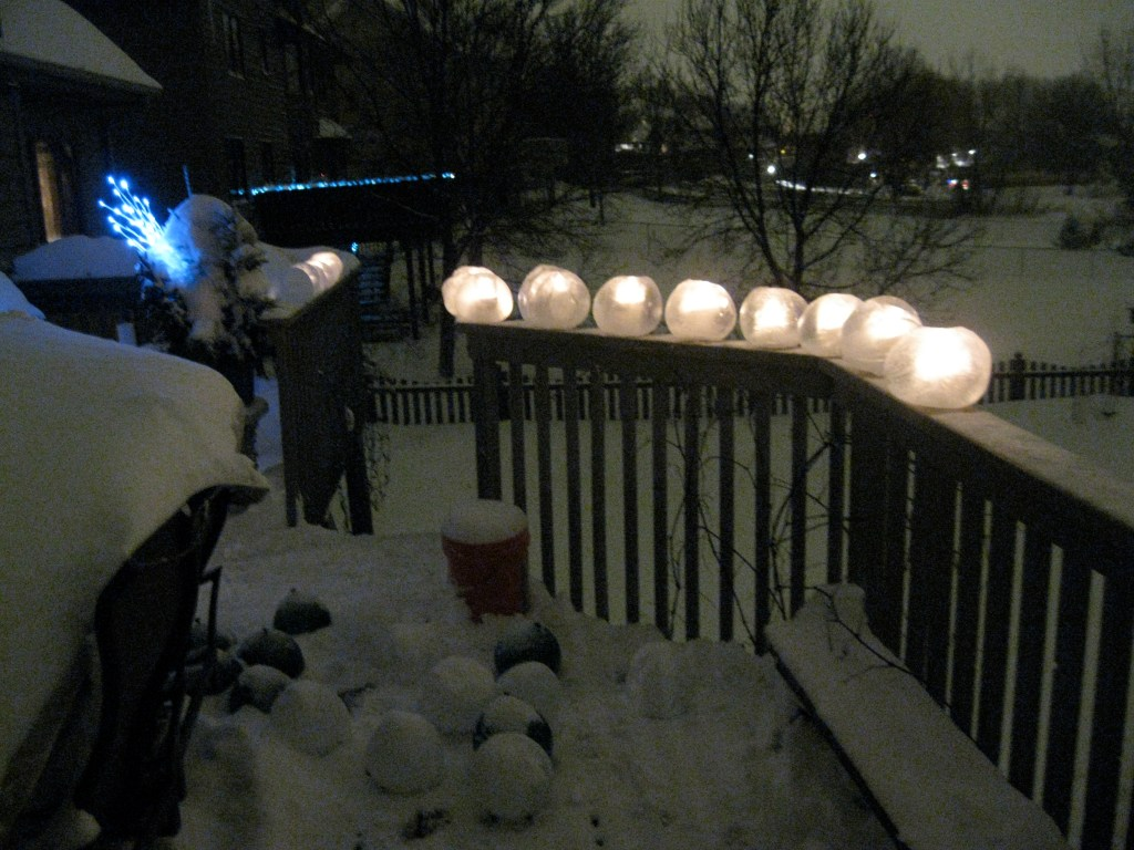 ice lanterns outside