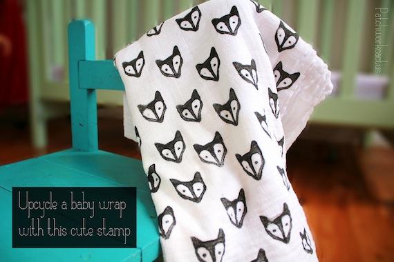 patchworkcactus_fox_print_muslin_baby_wrap