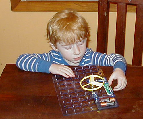 Playing with the Snap Circuits Flying Saucer Kit.