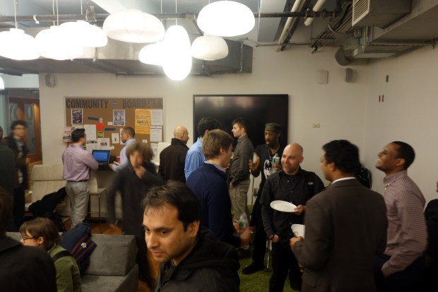 The gathering before the storm. Pizza and beer was provided by MakeSimply.