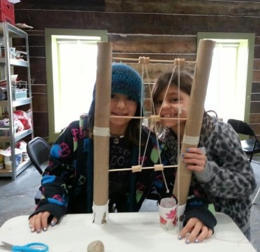 Building pulleys at Kaleidoscope Learning Center