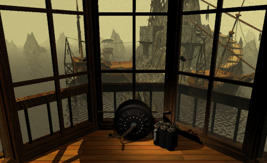"An example of one of Myst's ""puzzles"": this generator powered an antiquated battery."