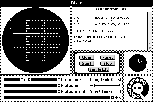 The Edsac Simulator lets you recreate what may be the first computer game: OXO, a tic-tac-toe game written by a Cambridge University grad student.