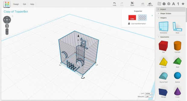 An in-browser CAD tool that's great for beginners. Try it here, and check out our 3D Printing Guide for an in-depth tutorial.