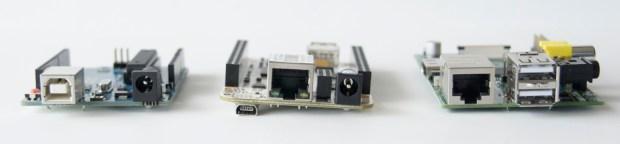The Arduino Uno, BeagleBone and Raspberry Pi Note the Ethernet ports on the BeagleBone and Raspberry Pi