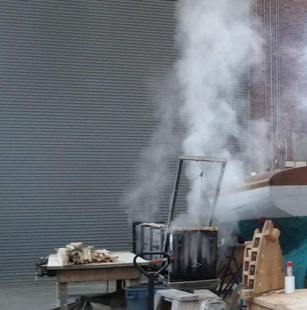 Here's the steam box in action. This helps the students bend the wood to their will.