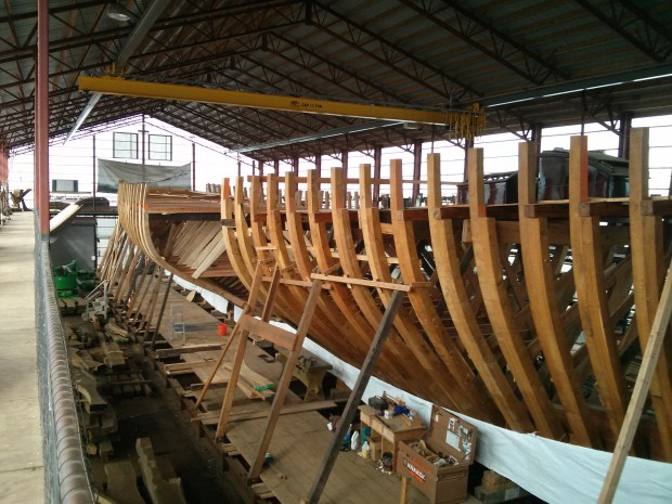 We took a side trip to check out the restoration of the Coronet, one of the largest and oldest schooner yachts
