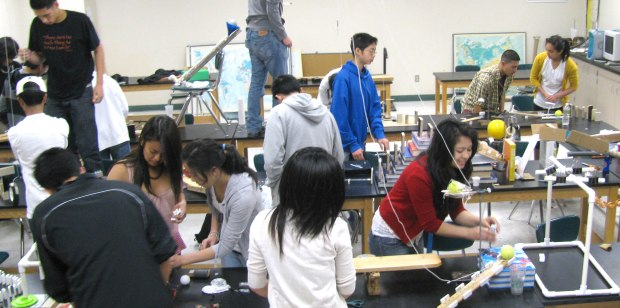 """Geoff Gould at Oceana HS in Pacifica picked up the idea for """"chain reaction"""" projects from the Exploratorium Teacher Institute. (http://exploratorium.edu/education/teacher-institute)"""