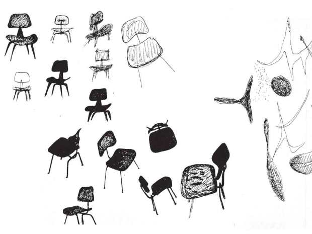 Ray Eames' chair design sketches, 1940s.