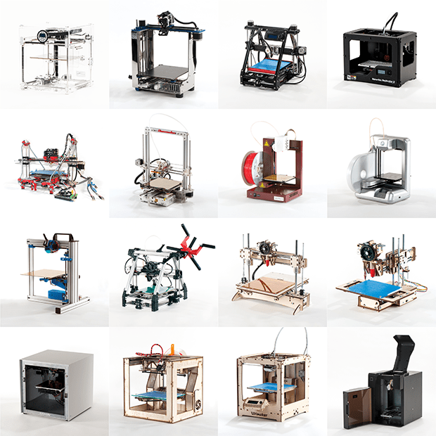 The sixteen consumer-grade 3D printers we tested for last year's Make: Ultimate Guide to 3D Printing.