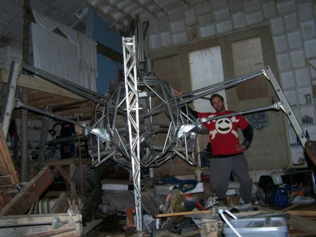 Jaimie Mantzel with his giant robot