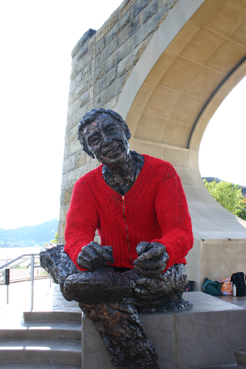 mister rogers statue sweater yarnbomb