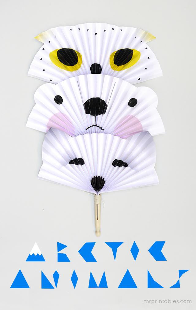 arctic-animal-paper-fans-diy