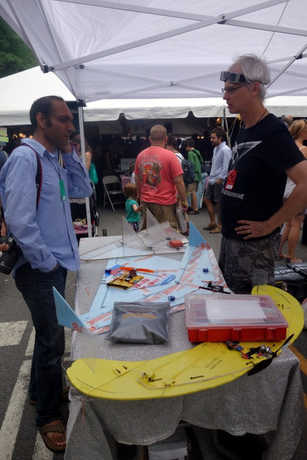 Outside, Breck Baldwin from Brooklyn Aerodrome discusses flying wing RC planes and... bananas!